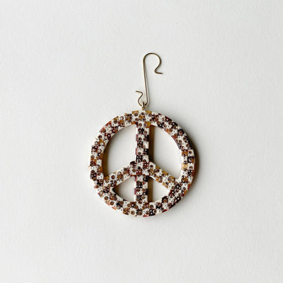 "2.5"" Peace Ornament with Crystals in Tortoise Checker - Machete Jewelry"
