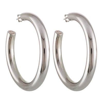 "Machete 2.5"" large perfect hoop earrings in silver."