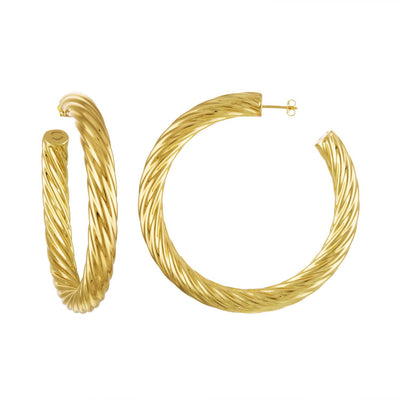 "2.5"" Twist Hoops in 14K Gold - Machete Jewelry"