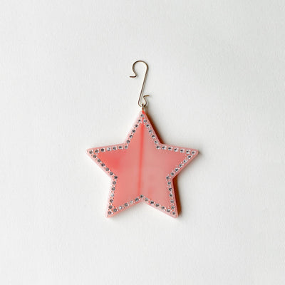 "2.75"" Star Ornament with Crystals in Bright Pink - Machete Jewelry"