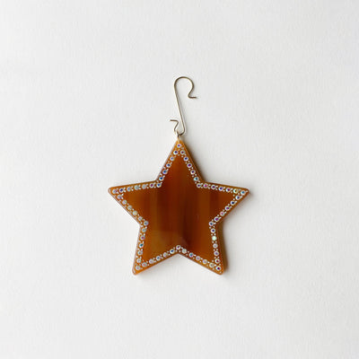 "2.75"" Star Ornament with Crystals in Cognac - Machete Jewelry"