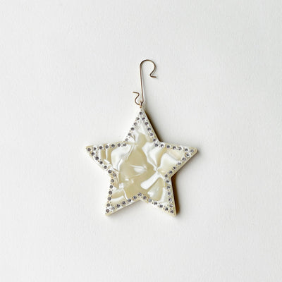 "2.75"" Star Ornament with Crystals in Ivory - Machete Jewelry"