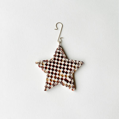 "2.75"" Star Ornament with Crystals in Tortoise Checker - Machete Jewelry"
