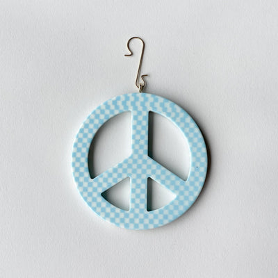 "3"" Peace Ornament in Blue Checker - Machete Jewelry"