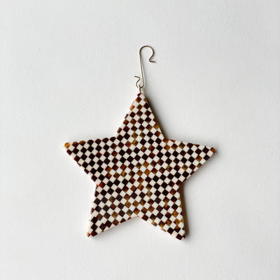 "4"" Star Ornament in Tortoise Checker - Machete Jewelry"
