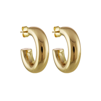 "Machete .75"" small perfect hoop earrings in 14k gold."