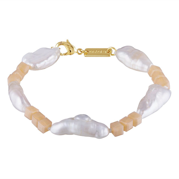 Beaded Biwa Pearl Bracelet in Soft Pink - Machete Jewelry