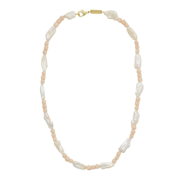 Beaded Biwa Pearl Necklace in Soft Pink - Machete Jewelry