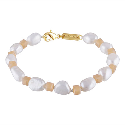 Beaded Round Pearl Bracelet in Soft Pink - Machete Jewelry