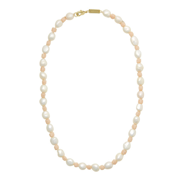 Beaded Round Pearl Necklace in Soft Pink - Machete Jewelry