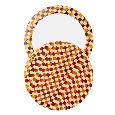 Circle Mirror in Tortoise Checker - Machete Jewelry