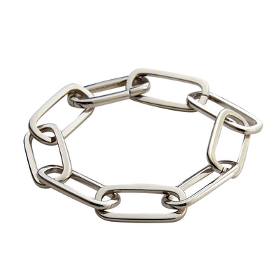 Grande Solid Sterling Paperclip Chain Bracelet in Silver - Machete Jewelry