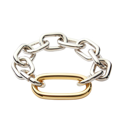 Interchangeable Oval Link Bracelet in Silver - Machete Jewelry
