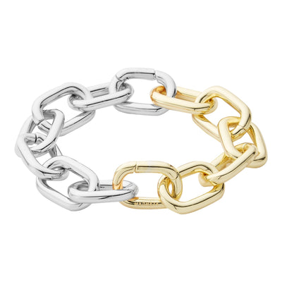 Interchangeable Statement Link Bracelet in 14k Gold + Silver Split - Machete Jewelry