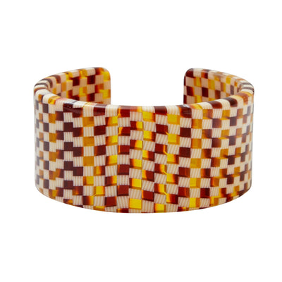 Jumbo Cuff in Tortoise Checker - Machete Jewelry