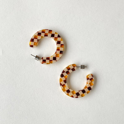 Kate Hoops in Tortoise Checker - Machete Jewelry