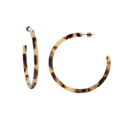Large Hoops in Blonde Tortoise - Machete Jewelry