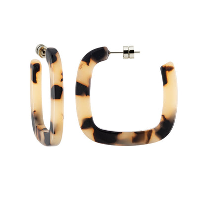 Midi Square Hoops in Blonde Tortoise - Machete Jewelry