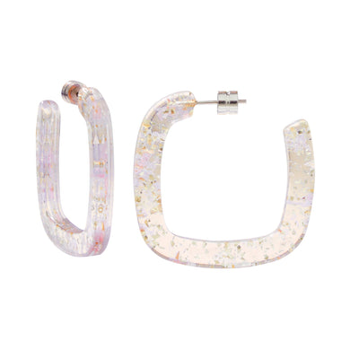 Midi Square Hoops in Glitter - Machete Jewelry