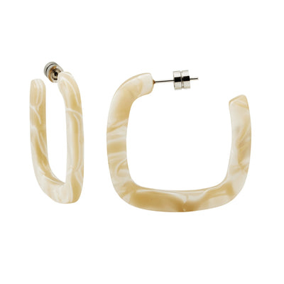 Midi Square Hoops in Ivory - Machete Jewelry