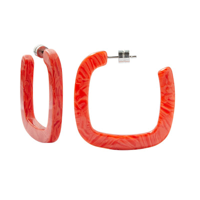 Midi Square Hoops in Poppy - Machete Jewelry