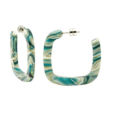 Midi Square Hoops in Stromanthe - Machete Jewelry