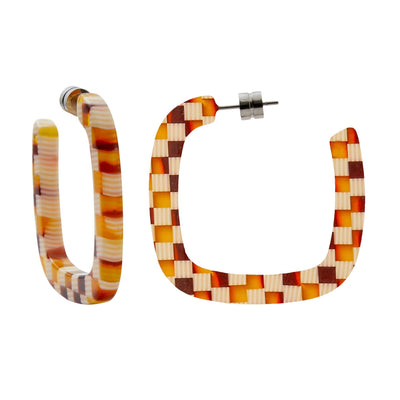 Midi Square Hoops in Tortoise Checker - Machete Jewelry