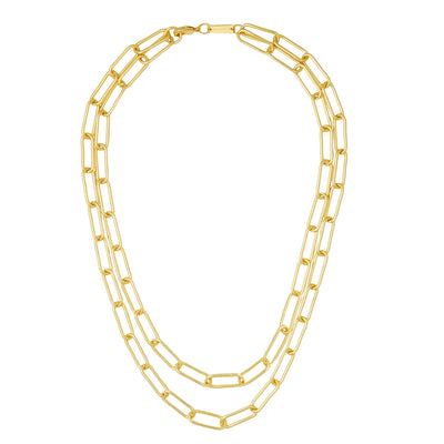Paperclip Chain Layered Necklace in Gold - Machete Jewelry
