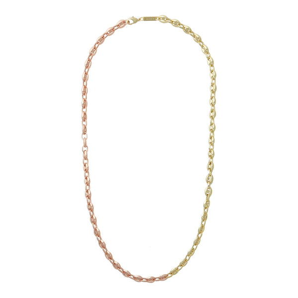 Petite Coffee Bead Necklace in Gold + Rose Gold Split - Machete Jewelry