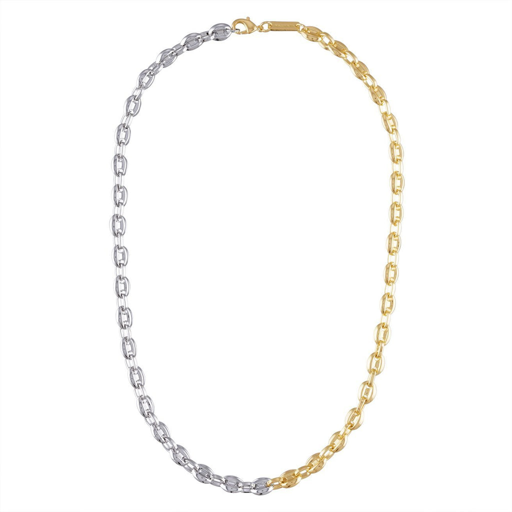 Petite Coffee Bead Necklace in Gold + Silver - Machete Jewelry