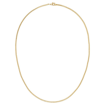 Round Box Chain Necklace in 14k Gold - Machete Jewelry