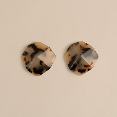 Sculpture Studs in Blonde Tortoise - Machete Jewelry