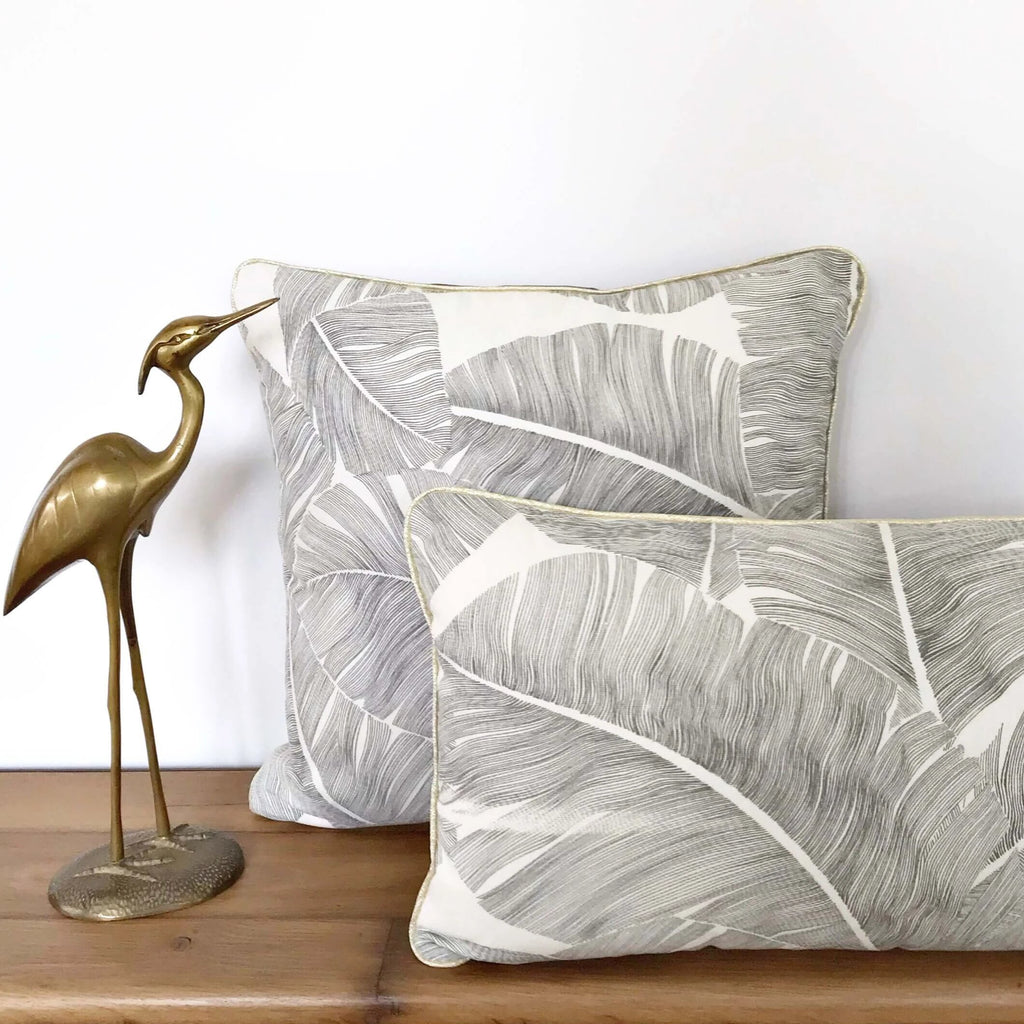 Duo de coussin carre et rectangle palm coast fait main dos velours gris