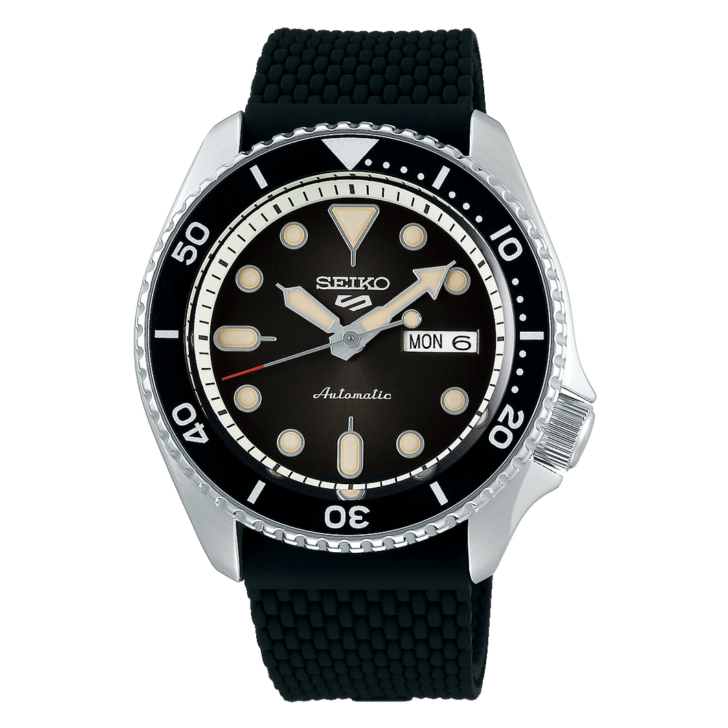 Seiko 5 Sports Automatic Black Dial Silicone Band