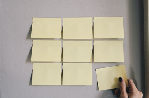 sticky notes on wall