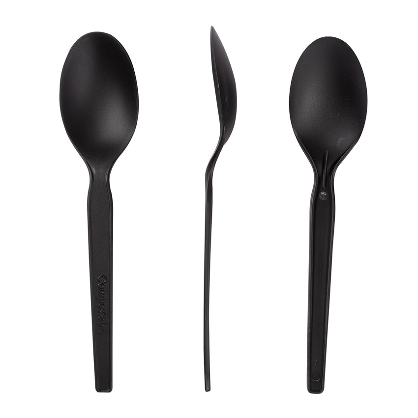 "6.5"" Black CPLA Spoons, Case of 1,000"