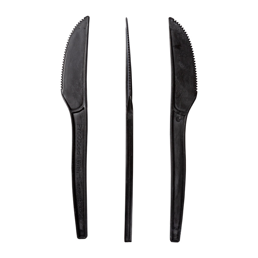 "7"" Black Plant Starch Knives, Case of 1,000"