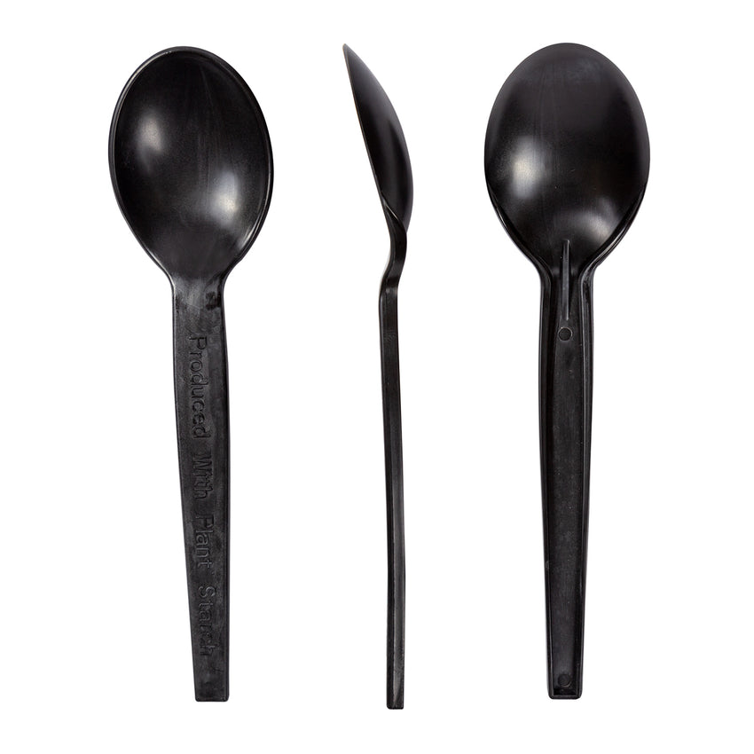 "7"" Black Plant Starch Soup Spoons, Case of 1,000"