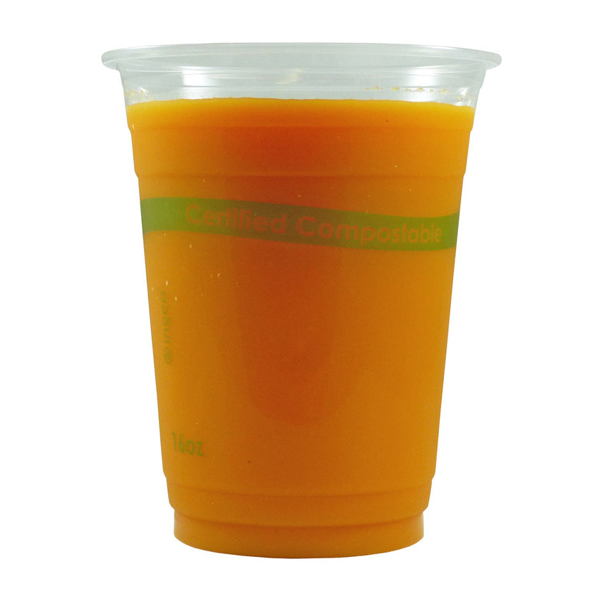 16 oz. Clear PLA Compostable Cup with Juice