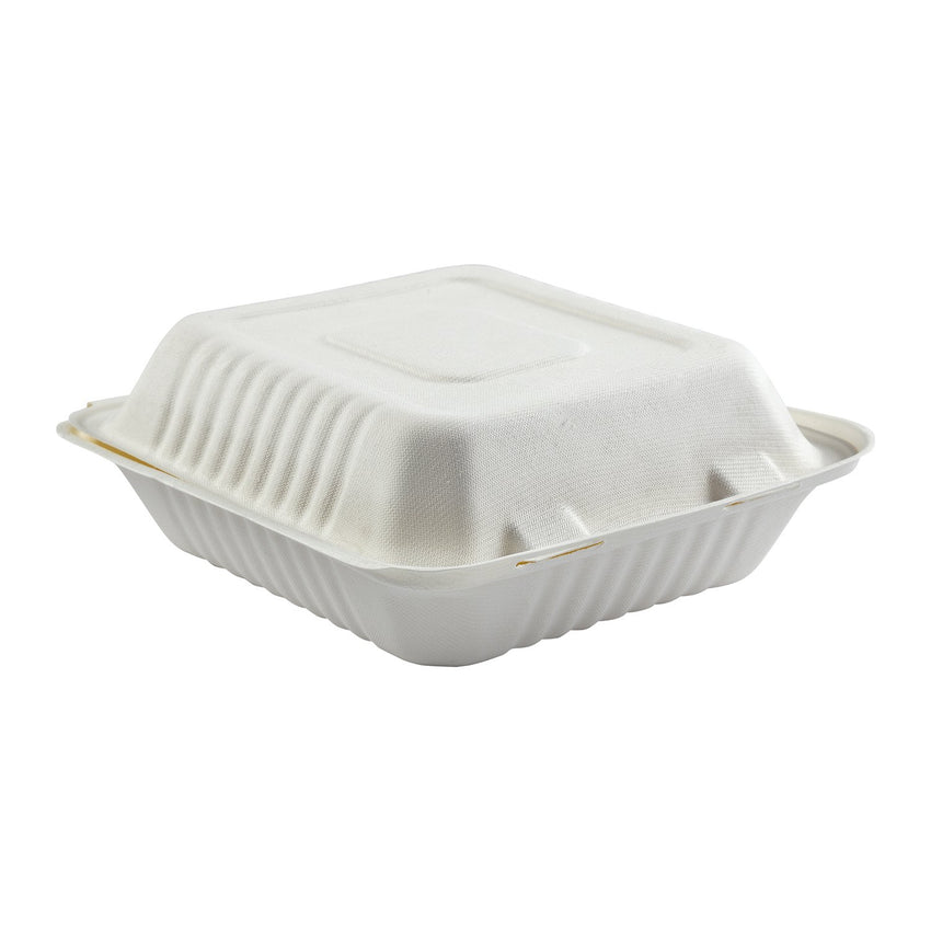 "7.875 x 8 x 3.19"" Medium Molded Fiber Deep Hinged Lid Container"