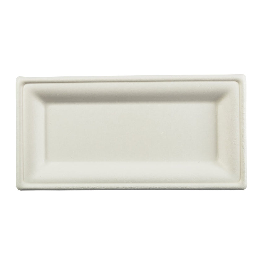 "10 x 5"" Rectangle Heavy Molded Fiber Plate with Sushi"