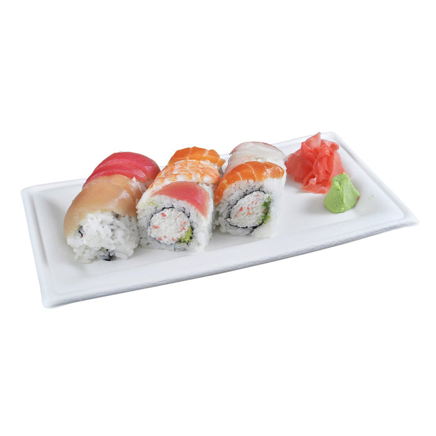 "10"" x 5"" Heavy Molded Rectangle Fiber Plate with Sushi"
