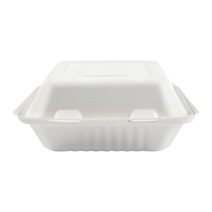 "7.875 x 8 x 3.19"" Medium Molded Fiber Deep Hinged Lid Container PLA Lined - Front View"