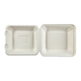 "7.875 x 8 x 3.19"" Medium Molded Fiber Deep Hinged Lid Container PLA Lined - Top View"