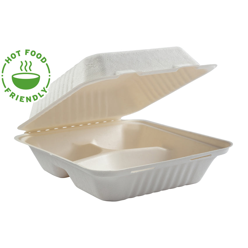 "7.875 x 8 x 3.19"" Medium 3 Section Molded Fiber Deep Hinged Lid Containers PLA Lined, Case of 160"