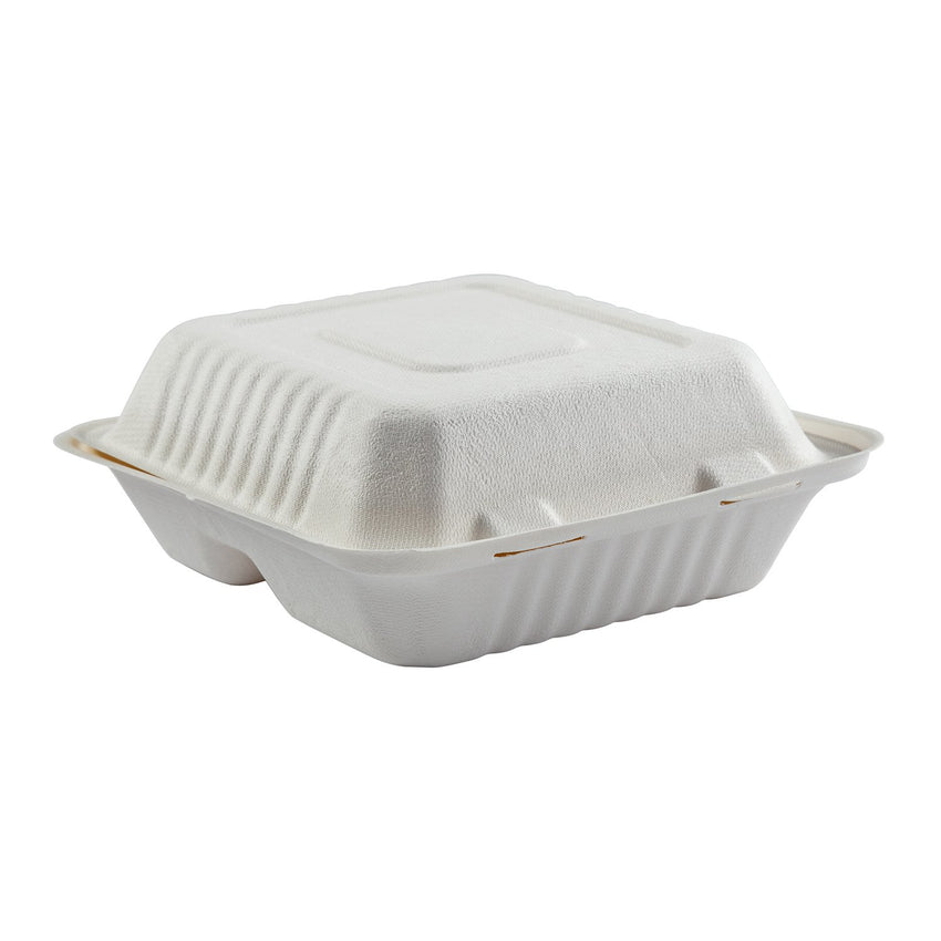 "7.875 x 8 x 3.19"" Medium 3 Section Molded Fiber Deep Hinged Lid Container PLA Lined"