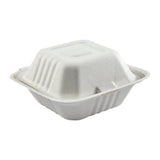 "6 x 6 x 3.19"" Small Molded Fiber Hinged Lid Container"