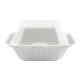 "6 x 6 x 3.19"" Small Molded Fiber Hinged Lid Container - Front View"