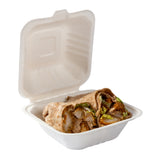 "6 x 6 x 3.19"" Small Molded Fiber Hinged Lid Containers, Case of 500"