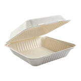 "9 x 9 x 3.19"" Large Molded Fiber Hinged Lid Container"